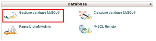Gestione database MySQL in Cpanel