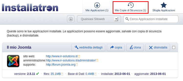 Visualizza backup disponibili